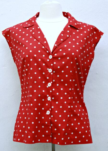 Edith bluse mønster symønster mariadenmark polkaprikker