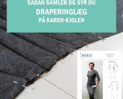 Samle draperingslæg Karen kjole